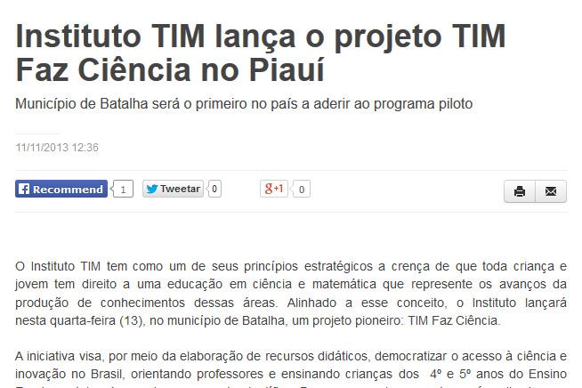 Instituto TIM lança o projeto TIM Faz Ciência no Piauí, imagem destacada