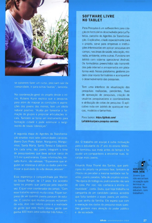 Revista ARede, Agentes da Transformação-4