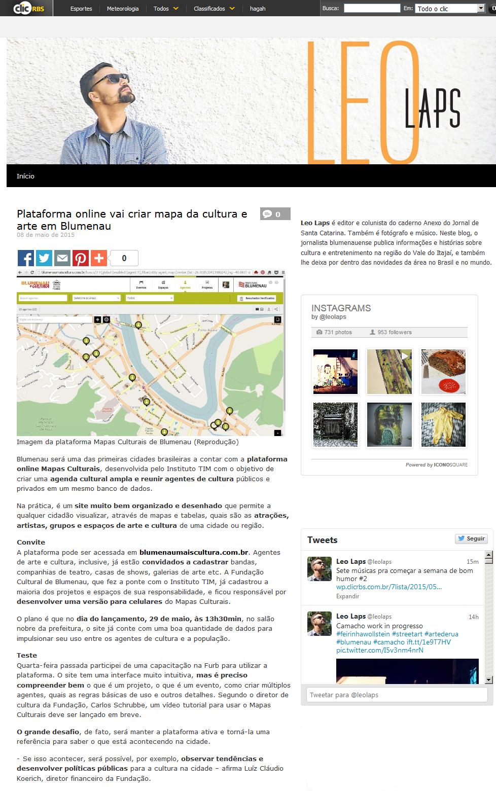 ClicRBS - Plataforma online vai criar mapa da cultura e arte em Blumenau