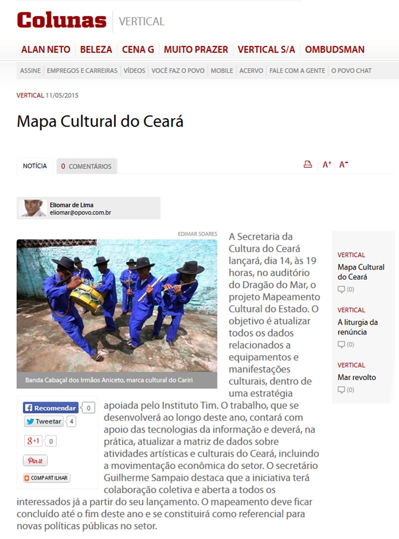 Opovo Online Mapa Cultural Do Ceara Instituto Tim