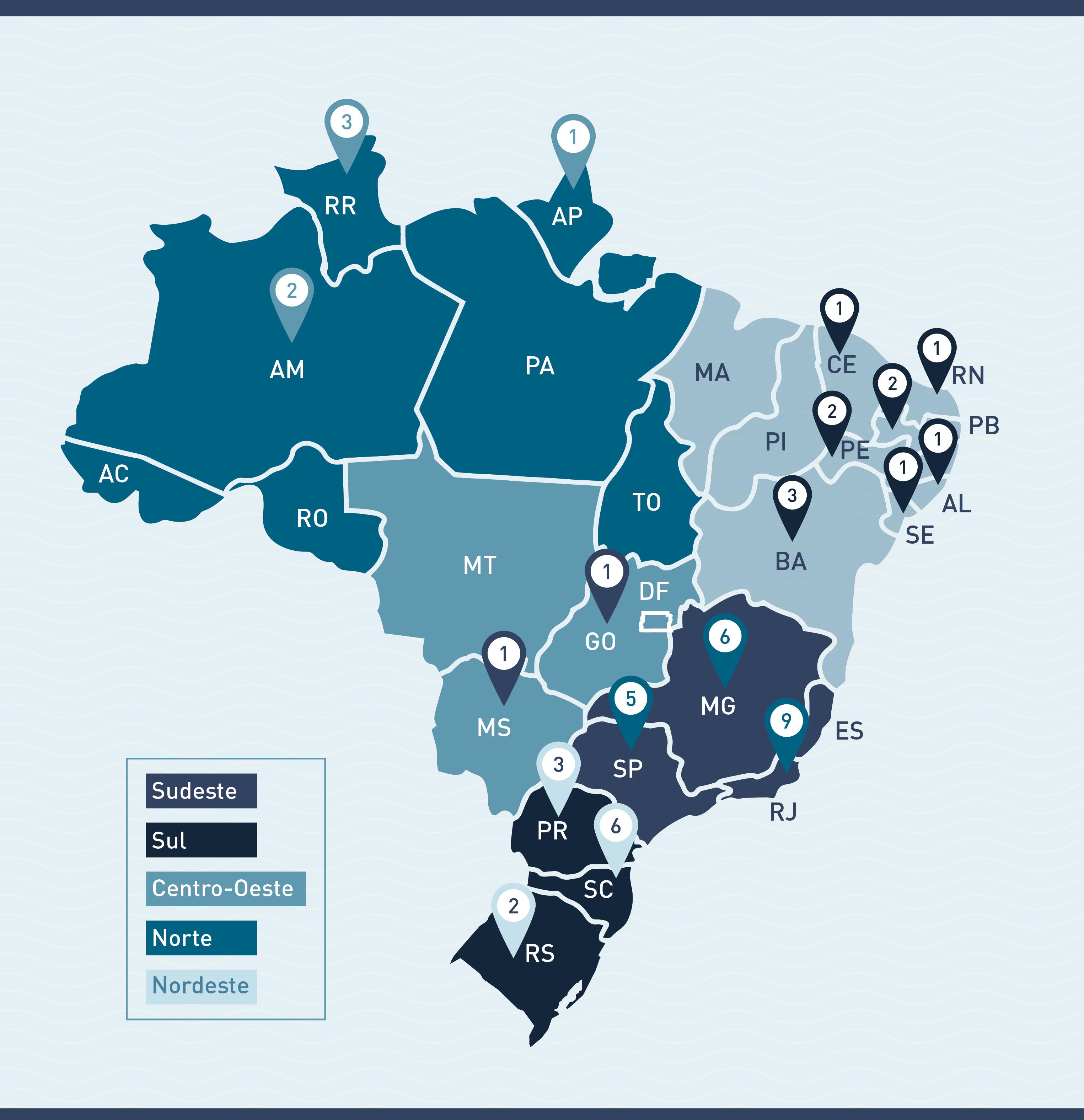 Mapa projetos edital IT-CNPq