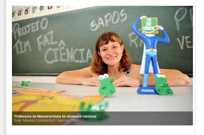 16_12_2015 Professora de Massaranduba recebe prêmio Tim Faz Ciência   AN Jaraguá   Geral   A Notícia, destaque