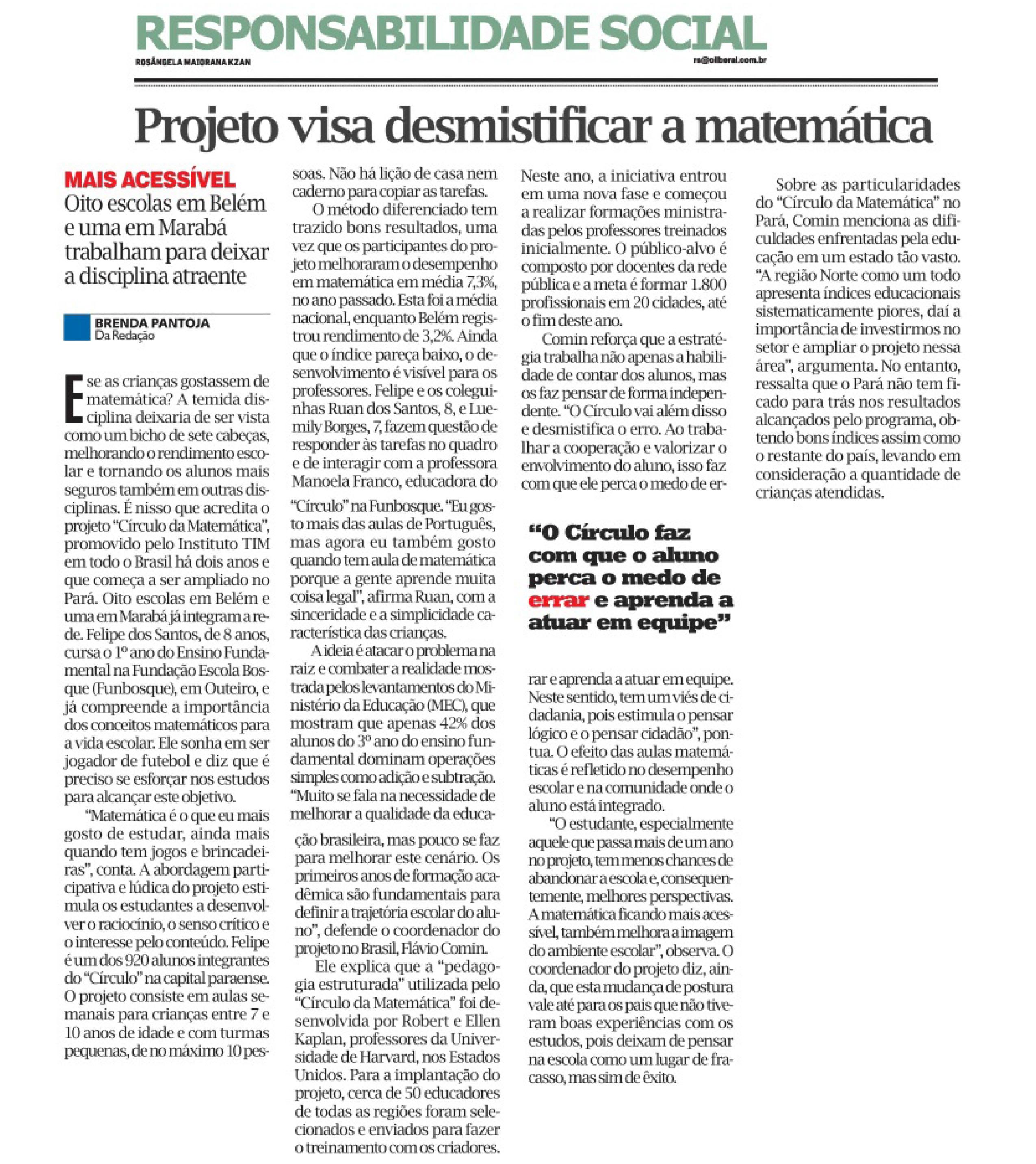 17_09_2015 O LIBERAL Projeto visa desmistificar a matemática parte 1