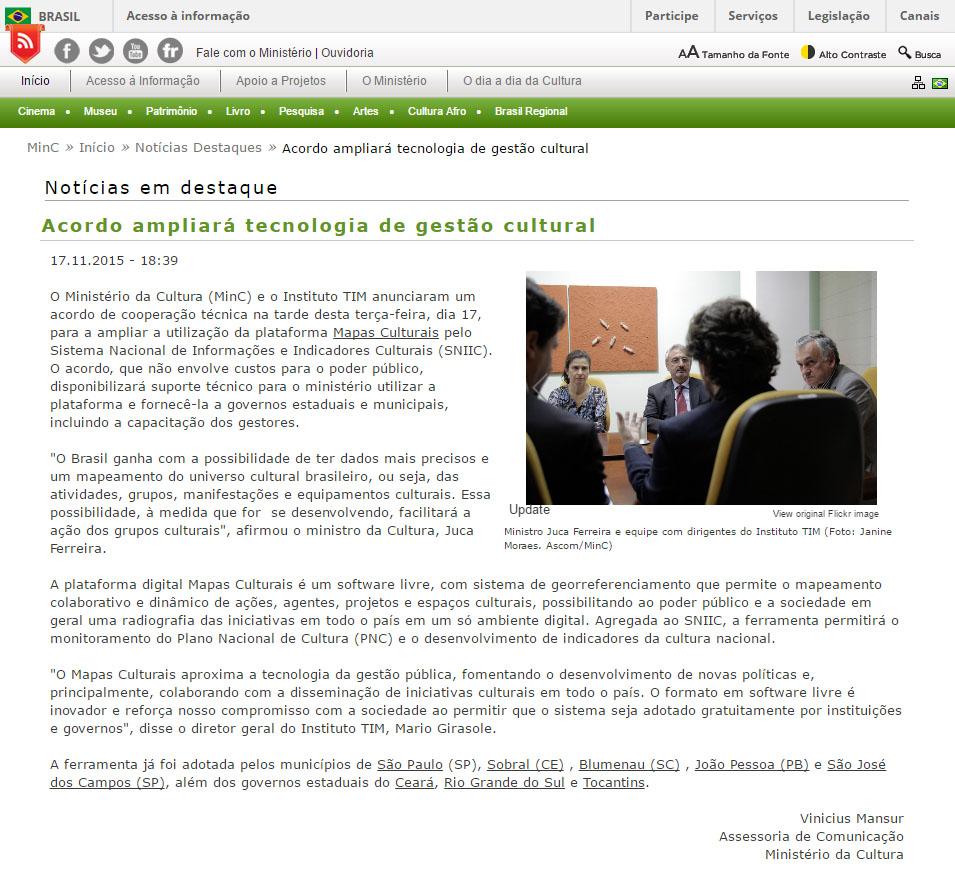 17_11_2015 Ministério da Cultura   Acordo ampliará tecnologia de gestão cultural   Notícias Destaques, editada