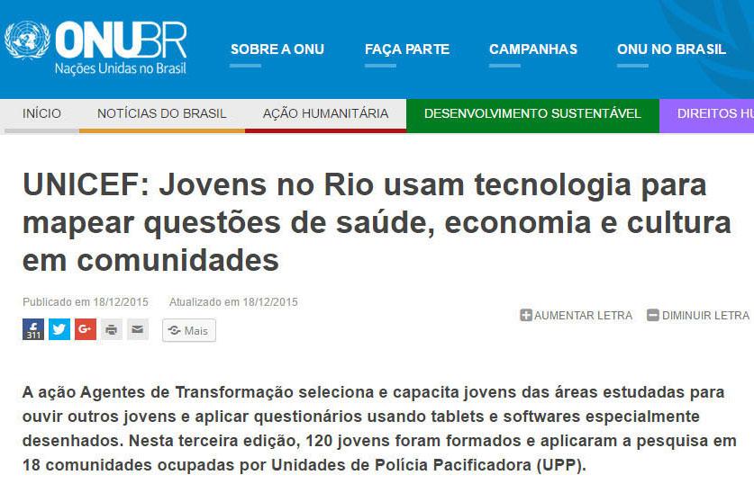 18_12_2015 UNICEF  Jovens no Rio usam tecnologia para mapear questões de saúde, destacado