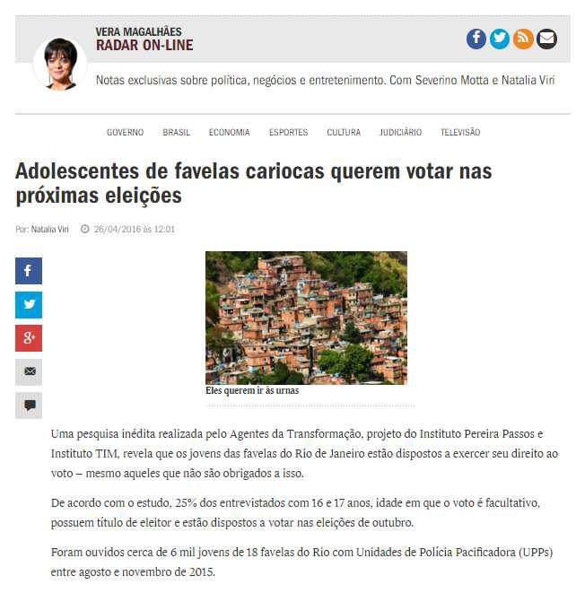 26_04_2016 Veja Online - Adolescentes de favelas cariocas querem votar nas próximas eleições