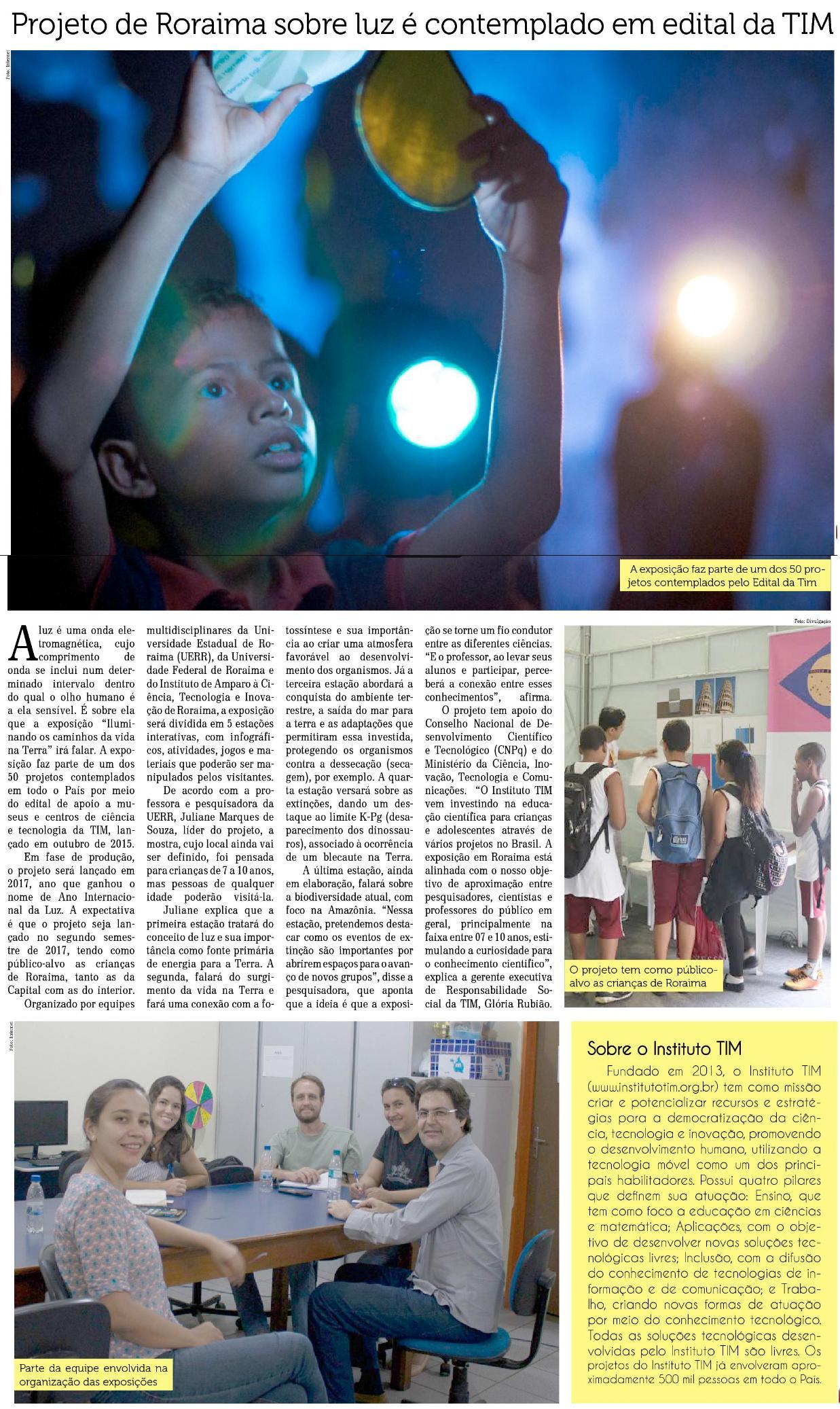 12_07_2016 Folha de Boa Vista - Projeto de Roraima sobre luz é contemplado em edital da Tim